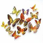 12pcs Wall Stickers Laser Double Layer Wings Butterfly Magnet Fridge Home Decor