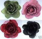 Large 13cm Soft Silk Organza Petal Rose Flower Hair Corsage Silver Barrette Clip