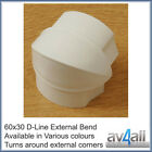 D-Line 60x30 External Bend for TV Cable Covers Trunking