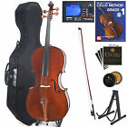 Cecilio 4/4 3/4 1/2 1/4 Handmade Solidwood Cello +Hard & Soft Case+Tuner~CCO-300