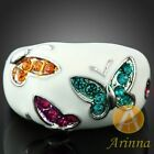 Arinna enamel color butterfly white GP Crystals Ring