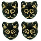 5  OR 25 Jet Black Gold Inlay Glass Cat Beads 12x13mm  ~ Design on both Sides