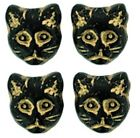 5  OR 25 Jet Black Gold Inlay Glass Cat Beads 12x13mm  *Design on both Sides