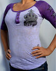 Sinful by Affliction Woman's ROYAL CROWN Raglan Henley Bu...