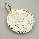 STERLING SILVER ROUND ST CHRISTOPHER PENDANT NECKLACE & CHAIN WITH ANY ENGRAVING