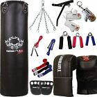 Black Punch Bag Set Boxing Kit Punching Bag Gloves Wall Bracket PU Gloves