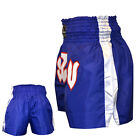 TurnerMAX Muay Thai Shorts Training Trunks Kick Boxing MMA Martial Arts Blue
