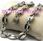 Mens Heavy 11mm Stainless Steel Coffee Solid Beads Chain Necklace