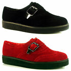 Womens Ladies Flat Pumps Brogue Buckle Wedge Creeper Suede Shoes Size 3 4 5 6 7