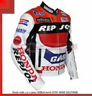 Honda REPSOL GAS Racing Leather Motorcycle Jacket/Cowhide milled leather.