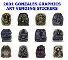 "GONZALES GRAPHICS ART 2001 VENDING MACHINE 12 STICKERS SET 2.5"" x 3.5"" YOU PICK!"