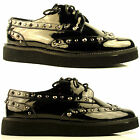 Womens Ladies Flat Stud Goth Rock Brogue Lace Up Wedge Creeper Pumps Shoes Size