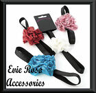 New Sequin Net Ruffle Rose Flower Corsage Black Satin Elastic Forehead Hair Band