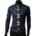 Luxury Fashion Mens Casual Slim fit Dress Formal Shirts Tops 5Size Free shipping