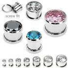 Pair Steel Large CZ Gem Screw Fit Ear Plugs Tunnels Earlets Gauges