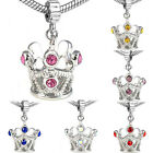 Wholesale Lot 6pcs Silver CZ Tiara Crown European Spacer Charm Bead For Bracelet