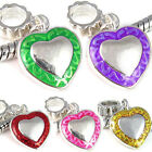 Wholesale Lot 5pcs Silver Heart European Spacer Charm Bead For Bracelet Necklace