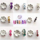 Rhinestone Rondelle 6mm 8mm Spacer Beads Choose Size & Colour