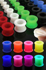 Pair (2) Double Flare Flexible Silicone Ear Tunnels Plugs Earlets Gauges
