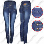 WOMENS LADIES HIGH WAISTED BUTTON SKINNY DENIM BLUE WASH JEANS SLIM FIT TROUSERS