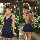 Deep-V Layered Ruffle Swim Dress One-Piece Bademode  Swimsuit GW78