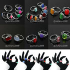 12pcs Mixed Silver Plated Cat's Eye Crystal Jade Costume Charms Rings PICK