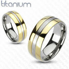 Solid Titanium 2-Tone Gold IP Edges Comfort Fit Wedding Band Ring