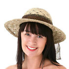 LADIES WIDE STRAW SUMMER SUN BEACH HAT & RED BROWN GOLD RIBBON BOW SCARF NEW