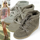 AnnaKastle New Womens Hi-Top Genuine Suede Sneaker Wedge Trainer UK 2.5 3 4 5