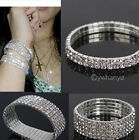 2 5 6 ROW Crystal Rhinestone Wedding Party Stretchy Bracelet Bling Wristband