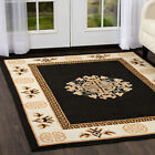 ORIENTAL BLACK MEDALLION BORDER AREA RUG PERSIAN MULTI-COLOR CARPET
