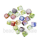20pcs Red/Pink/White/Blue Cube Glass Crystal Spacer Beads 6mm Making Jewelry