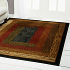 RED GREEN BEIGE TAN BORDERED MODERN GEOMETRIC AREA RUG CONTEMPORARY CARPET