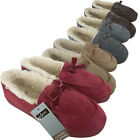 Ladies Moccasin Furry Faux Suede Slippers Womens Moccasins Slipper