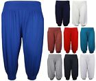 New Ladies Plus Size Baggy Shorts Womens Plain Cropped Harem Trouser Pants 12-26