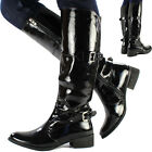 Womens Ladies Knee High Leather Style Flat Low Heel Biker Riding Stretch Boots