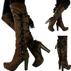 New Womens Ladies Leather Style Over The Knee Thigh High Platform Fur Stud Boots