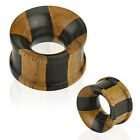 Pair Organic Jati & Areng Wood Double Flare Ear Plugs Tunnels Earrings Gauges
