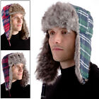 Mens' Warm Checked Trapper Hat Faux Fur Trim & Ear Flaps In Green Red Burgundy