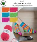 GRUNDL HOT SOCKS NEON 50G 4 PLY KNITTING YARN & FREE STRIPED SOCK PATTERN