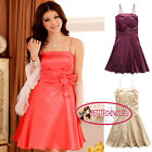 Bow A-line Silk-like Above Knee Cocktail Bridesmaid Prom Frock Dress UJ3201