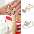 New Silver Tone Faux Pearl Crystal Cute Dog Puppy Chain Link Charm Bracelet