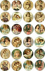 angel stickers scrapbooking - Christmas Angel round circle stickers bottlecap  30 1.5