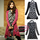 Paris Style False 2 in 1 Plaids Long Sleeves Asymmetrical Hem Mini Dress UJ2106