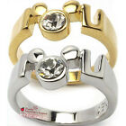 Girls Women Disney Mickey Mouse Crystal Ring 14K Yellow Gold Tone / Silver Tone
