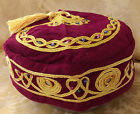 Smoking cap Burgundy hat Central gold tassel S M L NEW small medium large