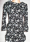 GIRLS BLACK GREY  FLORAL PRINT WINTER KNIT DRESS AND LEGGING SET