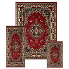 Area Rugs - Traditional Medallion Persian 3 Pcs Area Rug Oriental Bordered Runner Mat Set