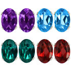 1.10 Ct Amethyst, Blue Topaz, Green Topaz, Garnet Sterling Silver Stud Earrings