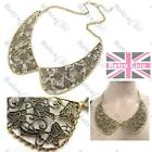 BIG ORNATE FILIGREE peter pan COLLAR NECKLACE antique gold pltd VINTAGE STYLE